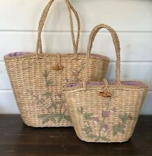 Set (2) Tommy Bahama Straw Totes Handbags w Embroidered Flowers or Beach Bag