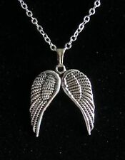 "18"" Inch 925 Sterling Silver Chain Daryl Dixon Angel Feather Wings Necklace"