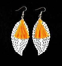 Lightweight Wood White Leaf Drop Dangle Earrings & Orange Tassels #809