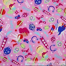 BonEful Fabric Cotton Quilt Pink Purple Red Star Super Girl Hero Comic OOP SCRAP