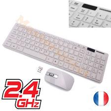 Clavier sans fil avec souris pour ordinateur azerty touche courte via USB Blanc