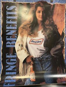 VINTAGE 1991 Budweiser Beer Poster ~ BUD DRY ~ Fringe Benefits SEXY Model Jeans