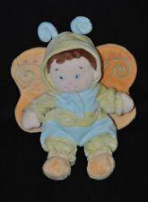 Peluche doudou lutin poupée déguisé papillonNICOTOY bleu vert ailes 25 cm NEUF