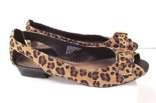 Womens Girls Merona Size 5.5 Leopard Print Suede Leather Open Toe Flats Shoes
