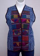 Golden Triangle Blue & White L/XL/XXL Thailand Cross-Stitch Vest Top Plus Size