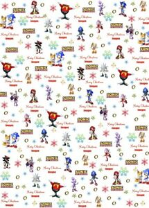 Personalised Sonic Christmas Wrapping Paper.