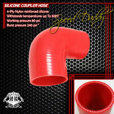 """2.5""""-2.75"""" 3-PLY 90-DEGREE ELBOW TURBO/INTAKE PIPING SILICONE COUPLER HOSE RED"""