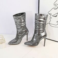 Women Sexy Pointed Toe Shining High Heel Ankle Boots Party Sexy Stiletto Shoes