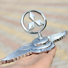For Mitsubishi High Quality 3D Wing Decals Car Hood Emblem Sticker Metal Silver