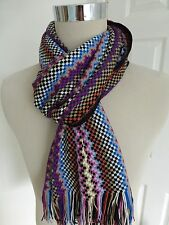 BNWT Missoni Multi Pattern Wool Blend Knitted Scarf  - Made in Italy
