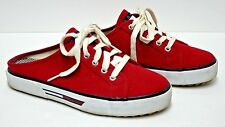 Women's Tommy Hilfiger Canvas Mule Style Tennis Shoes Red  Size 9 Med EUC