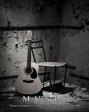 Musical Instruments Motivational Poster Art Print Guitar Band Sheet Music MVP178