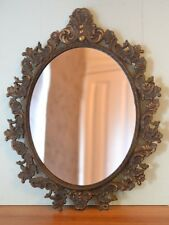 Vintage metal bronzed mirror french provincial ornate