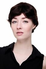 100% Cabello Natural: Corto Travieso Ondulado Peluca de Mujer Castaño Oscuro