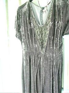 WRAP, London (Poetry) Beautiful Silk Velvet Dress SZ 14 Soft mid grey