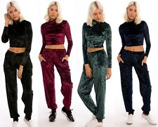 Women's Ladies Velvet Christmas Crop Top & Trouser Set - UK Size 8-16 Black 8