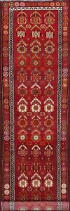 "Vegetable Dye 13 ft Red Runner Anatolian Turkish Hand-Knotted Rug 12' 8"" x 2' 8"""