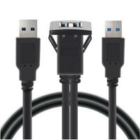 1m Dual USB 3.0 Einbau Buchse Adapter Anschluss Verlängerung Kabel KFZ Auto PC