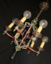 ANTIQUE ART DECO ERA VICTORIAN METAL CHANDELIER CEILING LIGHT FIXTURE 30's