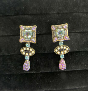 Ayala Bar Silver Tone Dangle Turquoise & Multicolor Stones / Beads Post Earrings