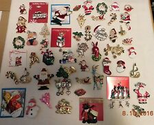 50++PC assorted costume/costume vintage CHRISTMAS pin lot/some signed/60's-90's