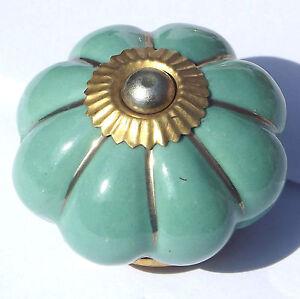 Green Ceramic Porcelain Door Knob Handle Drawer cupboard pull Choice of 6