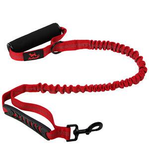 Premium Bungee Dog Lead No Pull Anti-Shock Leash with Traffic Control Handle Red