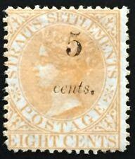 Malaya Straits Settlements 1880 QV 5c surch 8c MH SG#43 T.15 CV£700 M2153