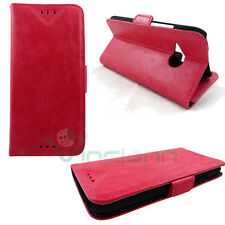 Custodia Rosa eco pelle per HTC One M8 mini BOOKLET stand+tasche schede cover