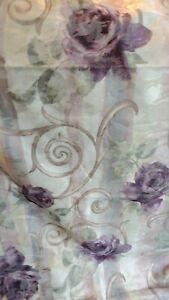 NEW Croscill Chambord = PAIR curtains, drapes, 2 Panels 2 tiebacks Purple Ivory