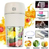 Portable Mini Blender Juicer Cup Smoothie Squeezer Mixer USB Rechargeable+Straw