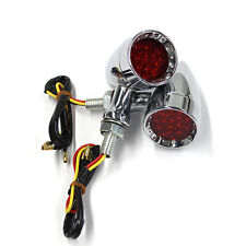 Chrome Bullet Brake Stop/Running LED Turn Signals RED Light Indicator Motorcycle