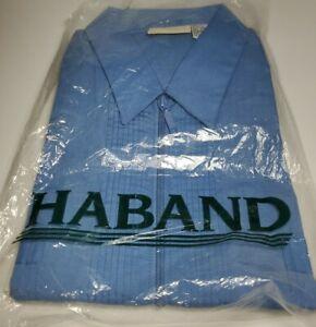 Mens Haband Zip Down Shirt Size XL Deadstock RARE NEW BLUE GUAYABERA
