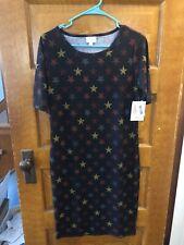 LuLaRoe Julia Dress NWT Medium Distressed Star Pattern On Black