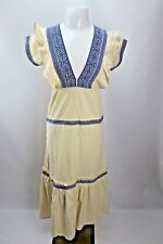 Vtg 70s Embroidered Hippie Ivory Blue Festival Mod Boho Sheath dress S/M