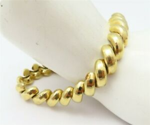 "10K Yellow Gold ~9MM Wide San Marco Textured Link Bracelet 7"""