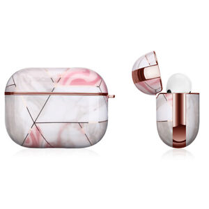 Apple AirPods Pro Marble Gold Case Shockproof Cover Luxury w/ Holder (Rosa)