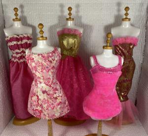 Vintage Barbie Shimmer Metallic Genuine Pretty Pink 5 Gowns Dresses Mix lot
