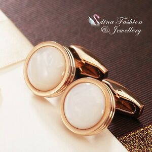 18K Rose Gold Plated Simulated Opal Round Shaped Shiny Men`s Cufflinks