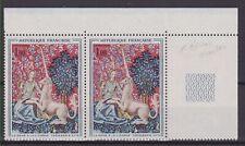 France 1964 neuf : 1425 Dame à la Licorne - variété double corne tenant à normal