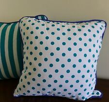 Alexa Reversible Cushion Cover teal green spots and stripes blue piping