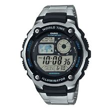 Casio AE-2100WD-1AV Black Silver Stainless Steel Digital Sports Watch & Box
