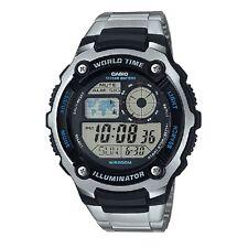 Casio AE-2100WD-1AV Black Silver Stainless Steel Digital Sports Watch & Box