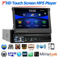 "1DIN 7"" Voiture Autoradio Bluetooth MP5 Player USB/TF/AUX/RDS/AM/FM Retractable"