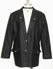 BLACK ~ BOILED WOOL ~ Women AUSTRIA Winter Church Dress Suit JACKET Blazer 14 L