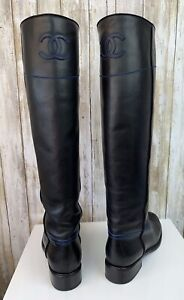 CHANEL Blue Black Leather Ascot CC Knee High Riding Boots Euro Size 38.5 RARE