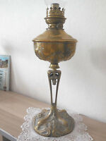 ANTIQUE FRENCH OIL LAMP - HANDCARVED BRONZE & HAMMERED BRASS - 19th c.