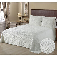100% Cotton Wedding Ring Chenille Bedspread or Sham Full Queen King, Ivory