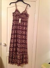 BNWT LADIES STRAPPY MAXI DRESS WINE & CREAM SNAKE SKIN DESIGN  SIZE 10 RRP £12