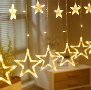 LED Sterne Lichtervorhang Weihnachtsbeleuchtung Lichterkette Außen Fenster Party